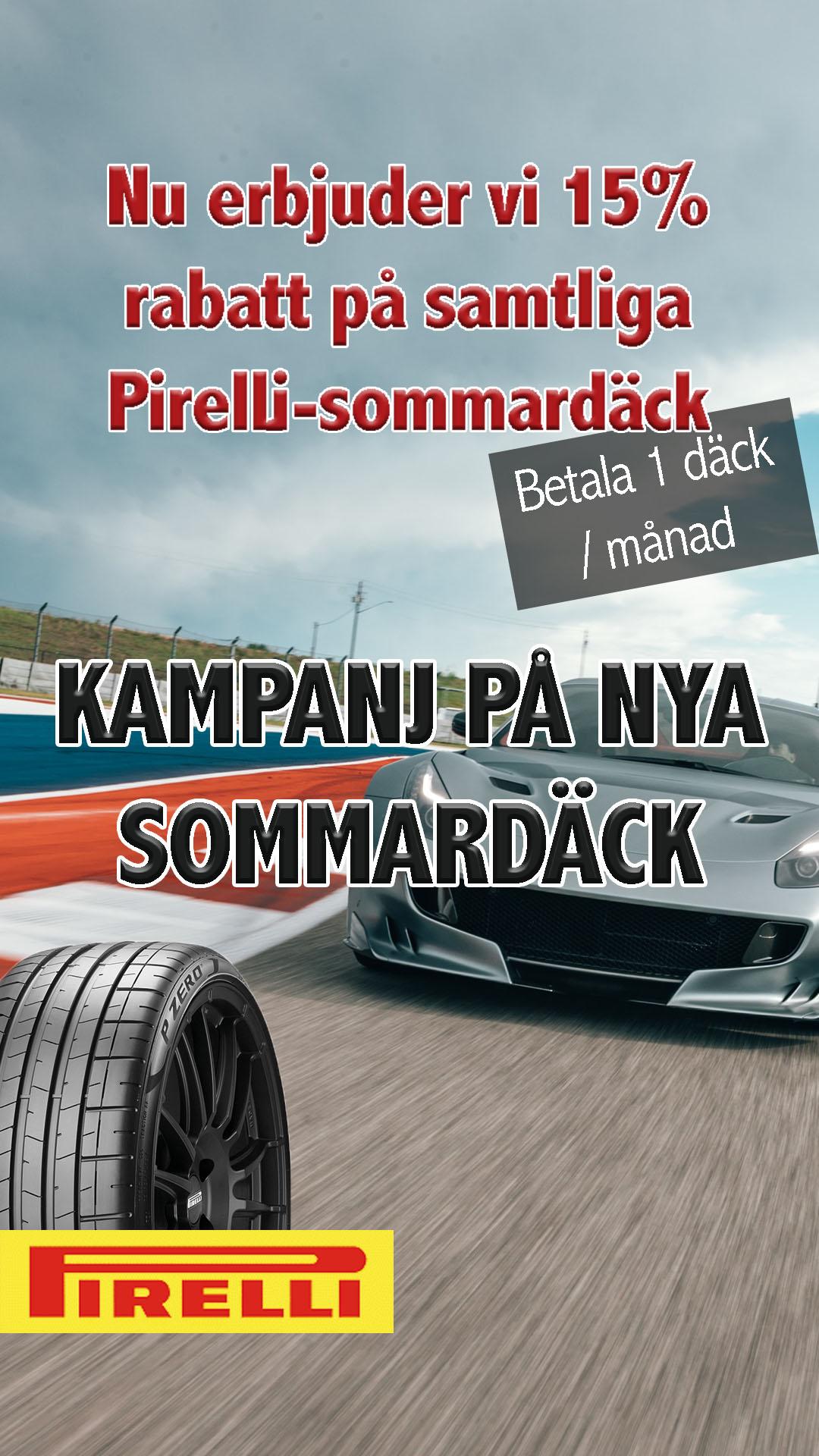 Pirelli sommardäck nu 15% rabatt
